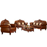 Living Room Furniture Set with Wooden Leather Sofa (619R)