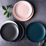 Wholesale Nordic Style Round Matte Glazed Colors Decorative Plate Cheap Dinner Ceramic Plate Set