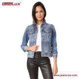 Women's Vintage Slim Classic Short Cropped Denim Jacket with Long Sleeves Blue (SK040)