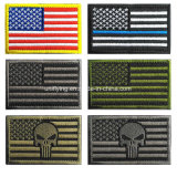 Cheap Wholesale Flag Custom Iron on Embroidery Patches Hook Loop Backing