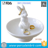 High Elegant Ceramic Cute Rabbit Jewelry Tray Home Decor