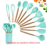 12 Pieces Cooking Kitchenware Silicone Kitchen Utensil with Wooden Handle