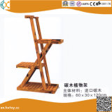 Garden Carbonized Wood Plant Stand Flower Rack
