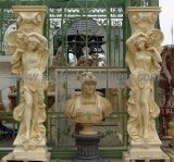 Western Style Hand Carved Marble Sculpture Columns Outdoor Garden Decorative Carved Stone Figure Statue Pillars (QCM259)