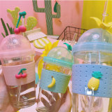 Best Price 450ml Glass Juice Water Bottle with Straw Fruit Drinking Glass Bottle with Silicone Sleeve