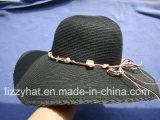 Summer Hat Fashion Lady Paper/Straw Floppy Hat with Shells Decoration