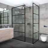 8mm Bathroom Black Aluminium Frame Tempering Glass Shower Screen