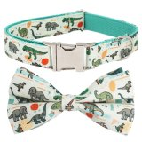 Dinosaur Dog Collar Bow Tie Dog Cat Necklace with Metal Buckle for Pet Gifts