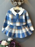 Toddler Fashion Girls Baby Clothes Collar Plaid Clothing with Sweater Skirt