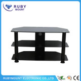 TV Mounting Glass Center Black Steel TV Stand