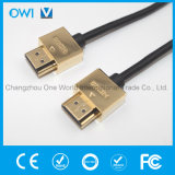 Slim HDMI 19 Pin Plug-Plug Cable for Cellphone Camcorders HDTV Gold Plug