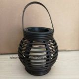 Plastic Rattan Sphere LED Candle Lantern with LED Lamp Operated by 3AAA Battery