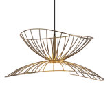 New Design Modern European Contemporary Vintage Cafe Bar Gold Plated Wrought Iron Shade Art Black Cage Chandelier Pendant Lamp