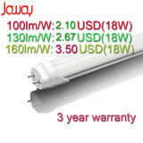 100-180lm/W Aluminum/PC Tube Lighting Fixture Lamp 9W/14W/18W/22W/24W T8 LED Fluorescent Tube Light