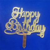 Custom Party Decoration Laser Cut Gold Mirror Acrylic Happy Birthday Cake Toppers