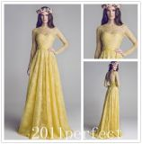 Long Sleeves Yellow Lace Bodice Formal Evening Dress W148658