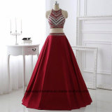 Women Two Piece Satin Beading Evening Party Prom Dress