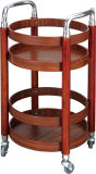 Wooden Round Wine Service Trolley Fw-72