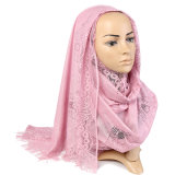 Soft Polyester Luxury Lace Decoration Hijab Scarf for Women