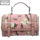 Pink Color Lady Handbag with Butterfly and Flower Pattern