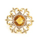 Gold Metal Alloy Rhinestone Flower Womens Finger Ring Fashion Jewelry
