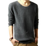 New Man′s Crochet Knitted Sweater Pullover Pure Color Long Sleeves