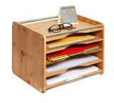 5 Tier Bamboo Office Document File Organizer Desktop Mail Letter A4 Paper Sorter Tray Cabinet Holder Storage Box with Stainless Steel (14 X 10.6 X 10.9)