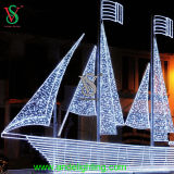 Grand White Sailboat Sailing Ship Ornament Light for Festival Decoration