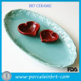 Creative Oval Serving Platter with Heart Sauce Set
