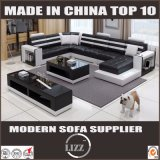 European Style Furniture Imitation Leather Sofa with Coffee Table
