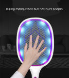 Huntingood Bug Zapper/Fly Swatter/Electric Mosquito Killer with Fast USB Charging,Bright LED Lighting,Separable Fixed Base and 3 Layer Safety Grid,for Indoor an