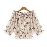 Printing Word Shoulder Summer Women Chiffon Shirts Floral Blouse Beach Cloths