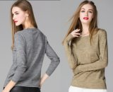 2015 Customized 80% Wool Round Collar Pullover Knitting Base Shirt Blouse in Women Clothes for Wholesale High Quality