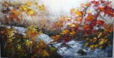 Handmade Palette Knife Forestry Landscape Oil Painting on Canvas