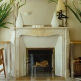 French Style White Marble Fireplace Mantel with Floral Carvings