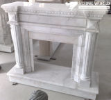 White Marble Fireplace Mantle/Mantels with Electric Fireplace for Indoor