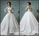 Lace Bridal Ball Gown Dresses Long Sleeves Wedding Dresses H445