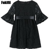 Factory High Quality New Design Boutique Children Clothing Infant Garment Black Lace Party Dresses for Girls