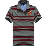 Custom 2017 Men Stripe Shirts Cotton Pique Polo Shirts