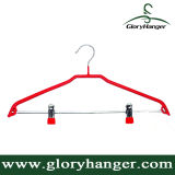 PVC Coat Wire Metal Bottom Hanger with Clips Pant Hanger