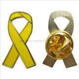 Wholesale Price Hard Enamel Yellow Awareness Ribbon Pin Badge (badge-101)
