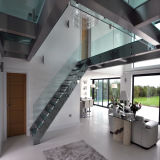 Modern Interior Solid Wood Straight Staircase with Tempered Glass Railing