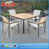 Stainless Steel Teak Table with 4 Chairs