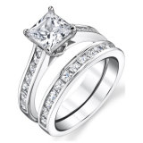 925 Silver Ring Silver with 3A CZ Engagement Couple Ring