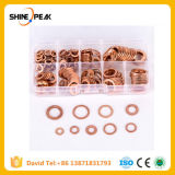 200PCS 9 Sizes Copper Washer Gasket Set Flat Ring Seal Kit Set with Plastic Box M5/M6/M8/M10/M12/M14 for Generators Machinery