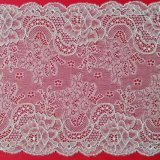 Ivory Mesh Lace Fabric Knitted Lace Garment Fabric Elastic Textile