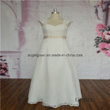 Tea Length Lace Bridal Dress with Detachable Straps