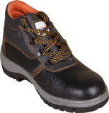 Genuine Leather Safety Shoes with Steel Toe and Plate, Rubber or PU Outsole