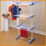 6.2kg Blue Color Powder Coated 3-Tier Clothes Drying Rack Rolling Laundry Drying Rack Steel Garment Rack (JP-CR300W)