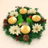 Promotional Artifical Christmas Wreath with Metal Candle Holder